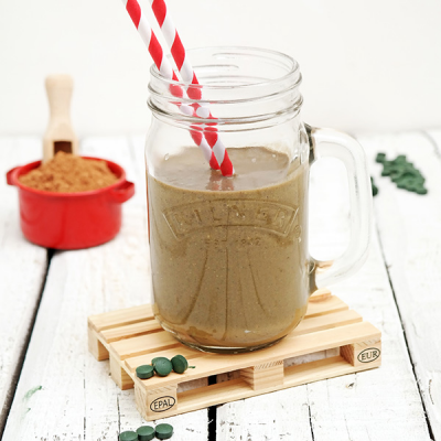 Protein Drink with Cacao Spirulina and Nut Milk