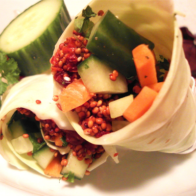 Cabbage and Red Quinoa Wraps